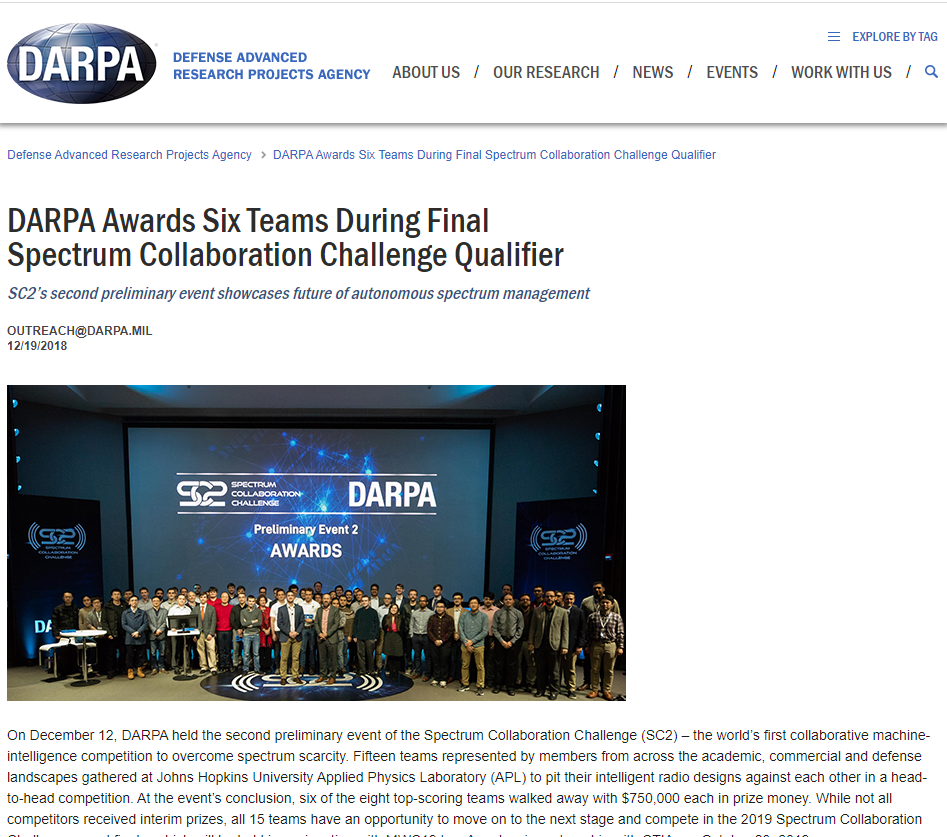 DARPA Awards Six Teams During Final Spectrum Collaboration Challenge Qualifier