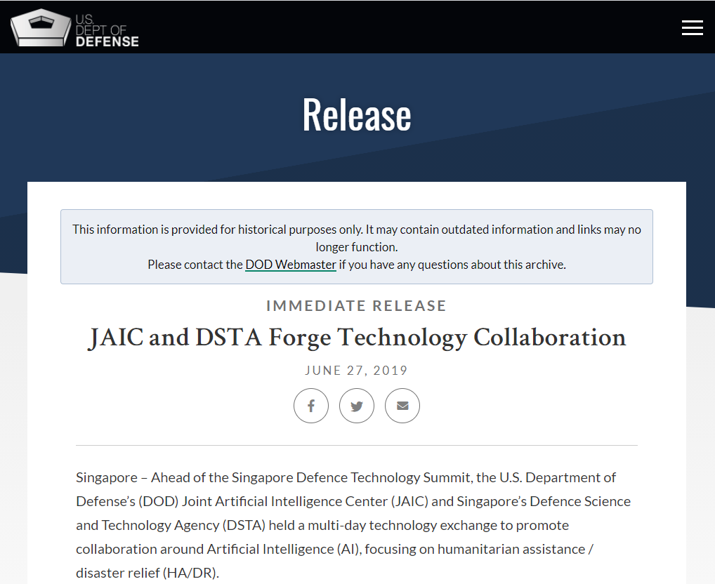 JAIC and DSTA Forge Technology Collaboration
