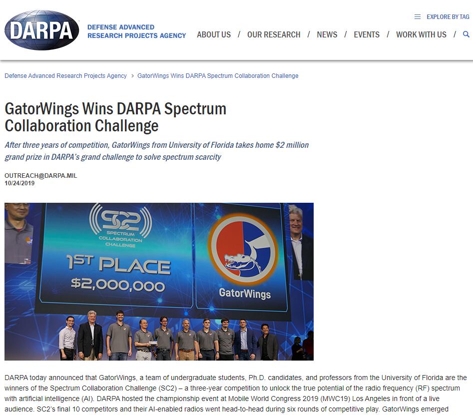 GatorWings Wins DARPA Spectrum Collaboration Challenge