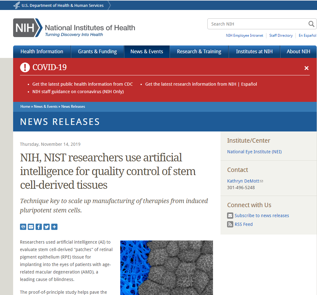 NIH, NIST researchers use artificial intelligence for quality control of stem cell-derived tissues
