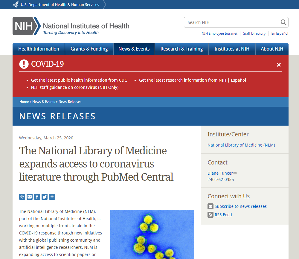 The National Library of Medicine expands access to coronavirus literature through PubMed Central