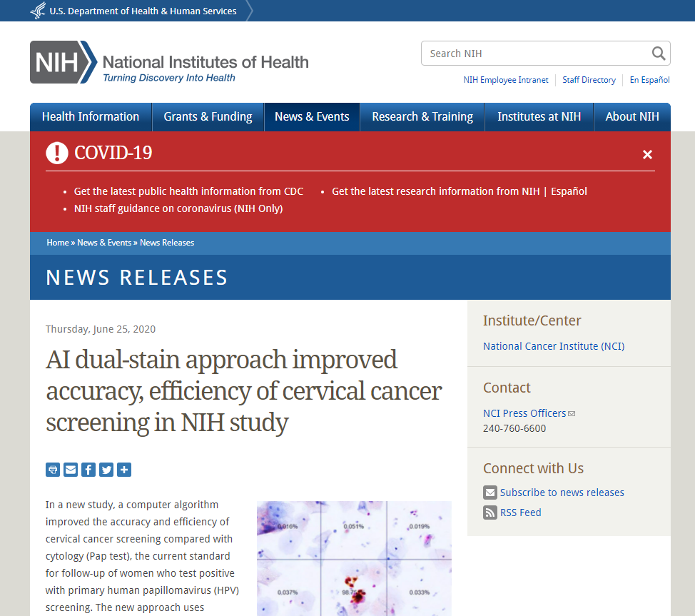 AI dual-stain approach improved accuracy, efficiency of cervical cancer screening in NIH study