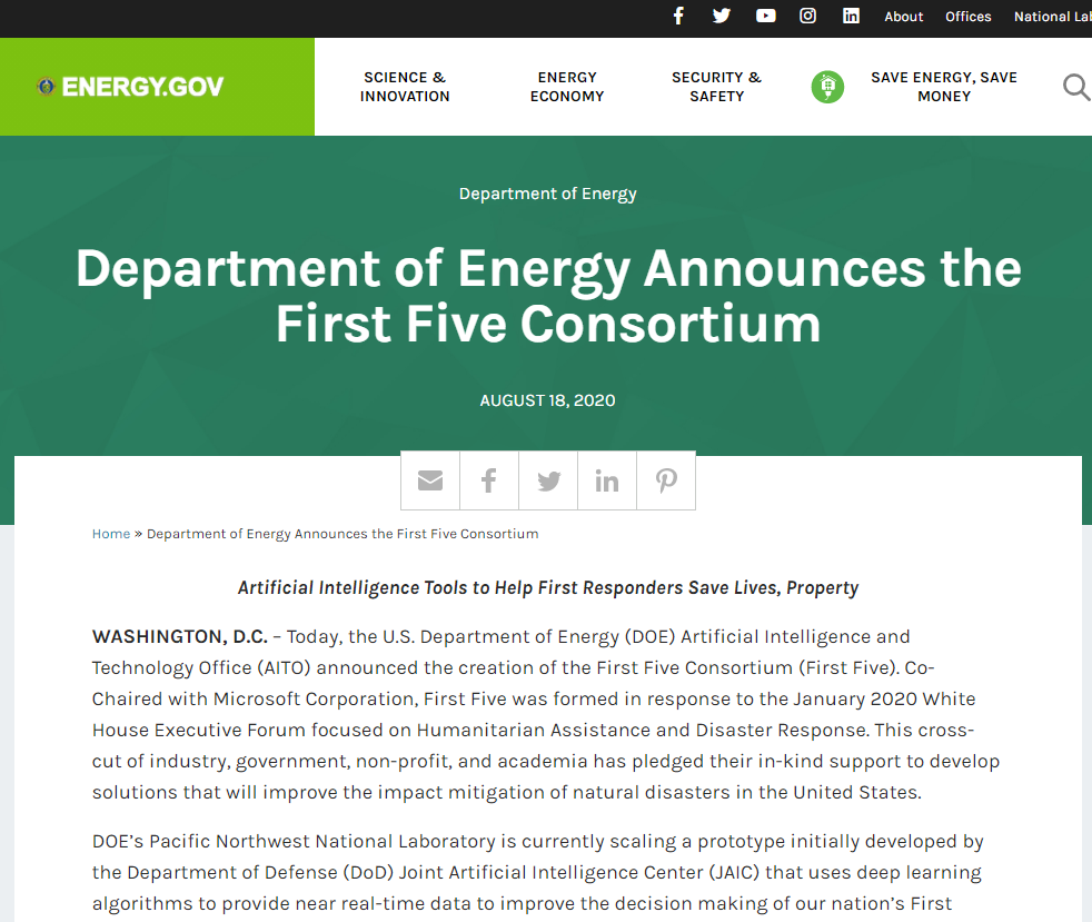 Department of Energy Announces the First Five Consortium