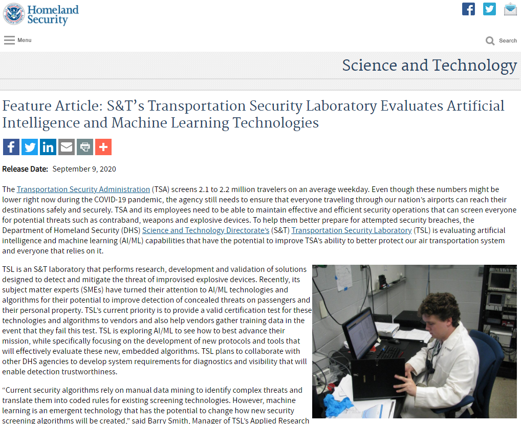 Transportation Security Laboratory Evaluates Artificial Intelligence and Machine Learning Technologies