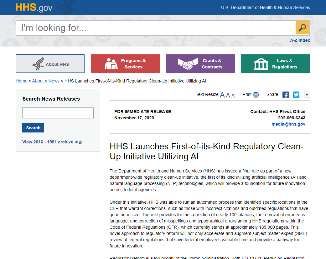 HHS Launches First-of-its-Kind Regulatory Clean-Up Initiative Utilizing AI