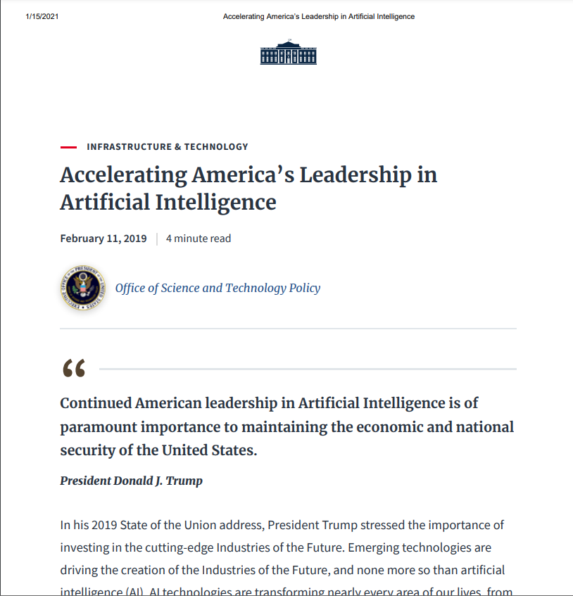 Accelerating America's Leadership in Artificial Intelligence