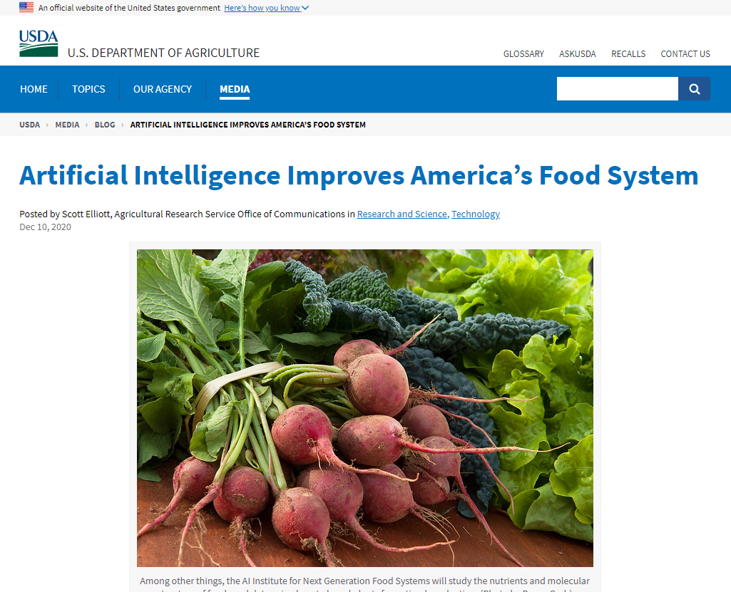 Artificial Intelligence Improves America's Food System