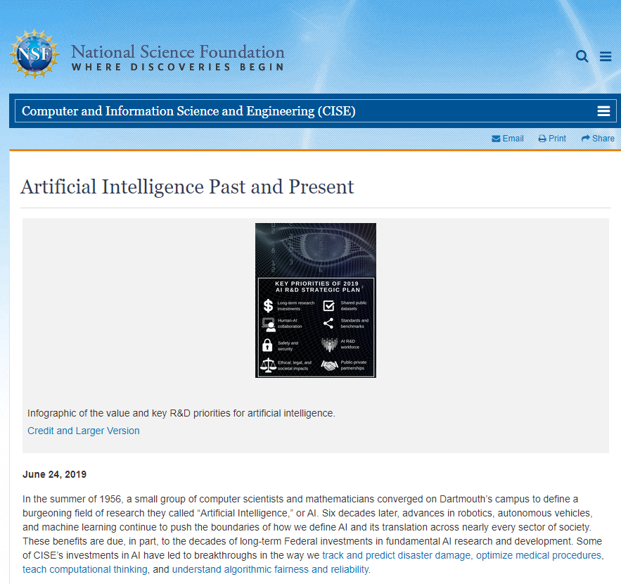 Artificial Intelligence Past and Present