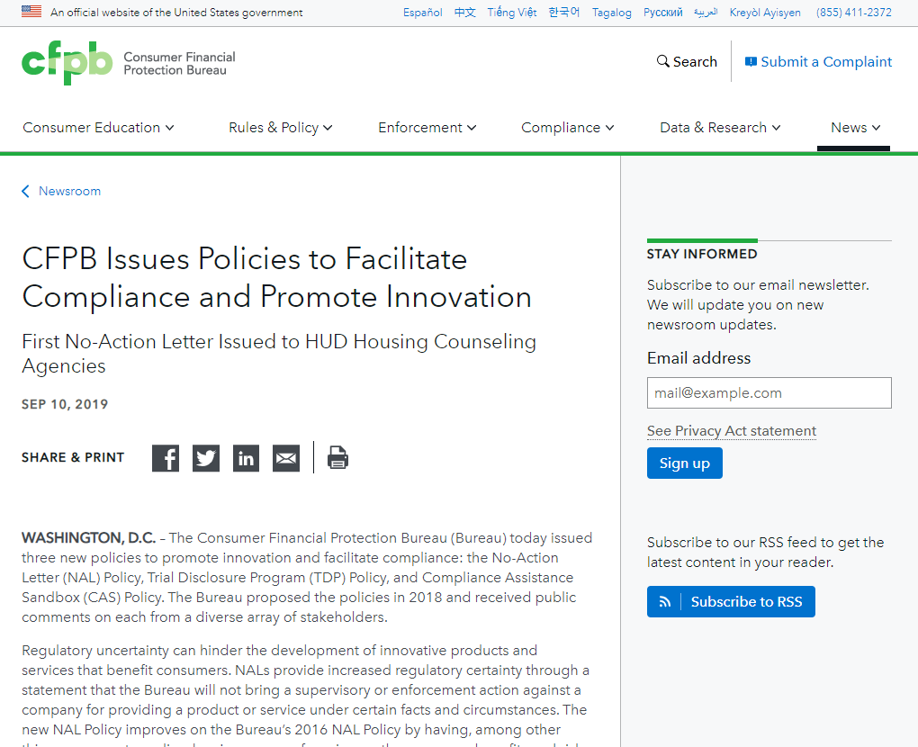 CFPB Issues Policies to Facilitate Compliance and Promote Innovation