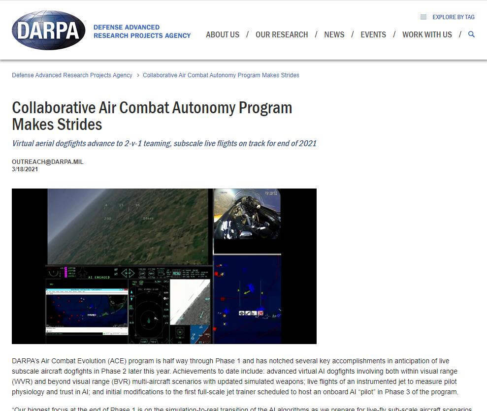 Collaborative Air Combat Autonomy Program Makes Strides