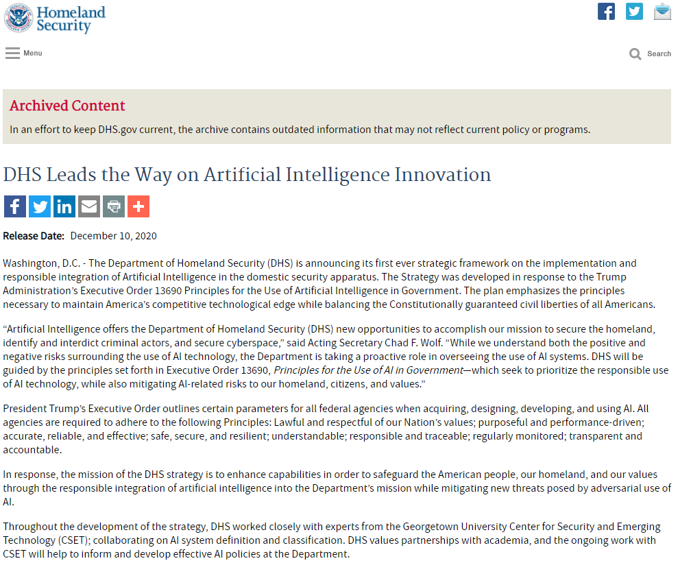 DHS Leads the Way on Artificial Intelligence Innovation
