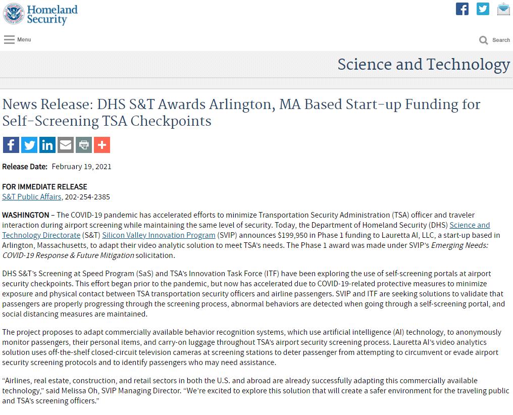 DHS S&T Awards Arlington, MA Based Start-up Funding for Self-Screening TSA Checkpoints