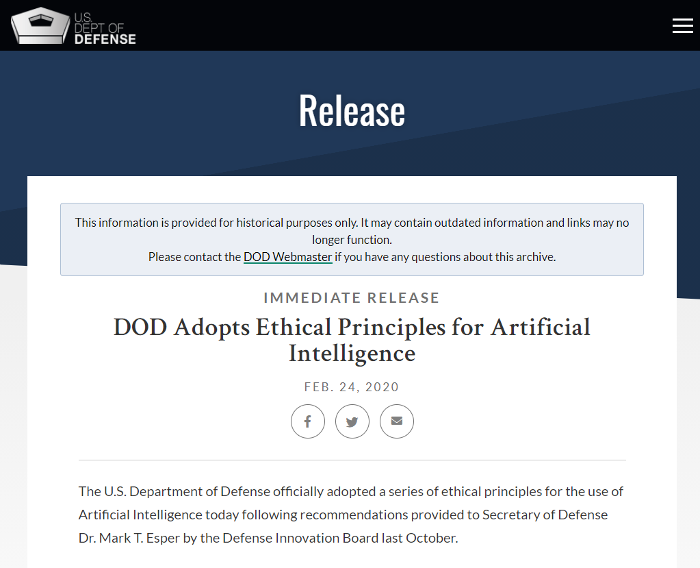 DOD Adopts Ethical Principles for Artificial Intelligence