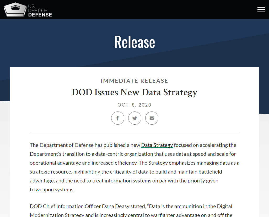 DOD Issues New Data Strategy