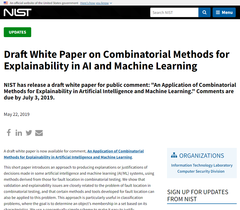 Draft White Paper on Combinatorial Methods for Explainability in AI and Machine Learning