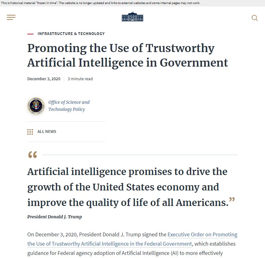 Executive Order Promoting the Use of Trustworthy Artificial Intelligence in the Federal Government