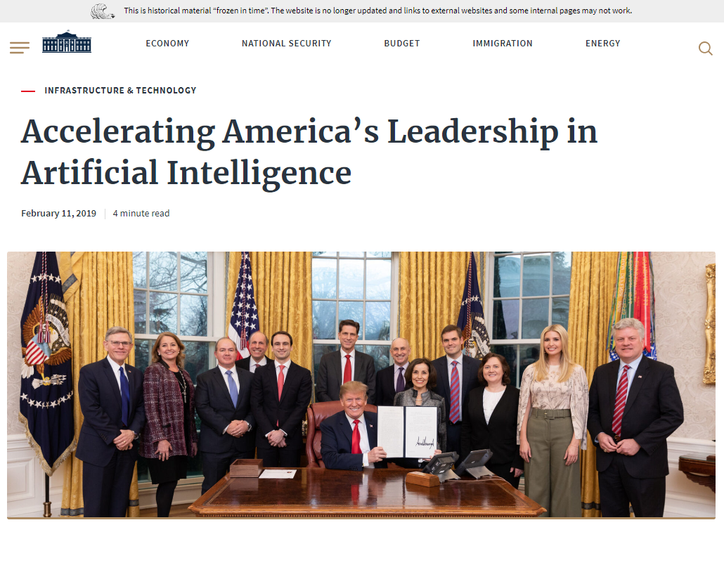 Executive Order to Maintain American Leadership in Artificial Intelligence