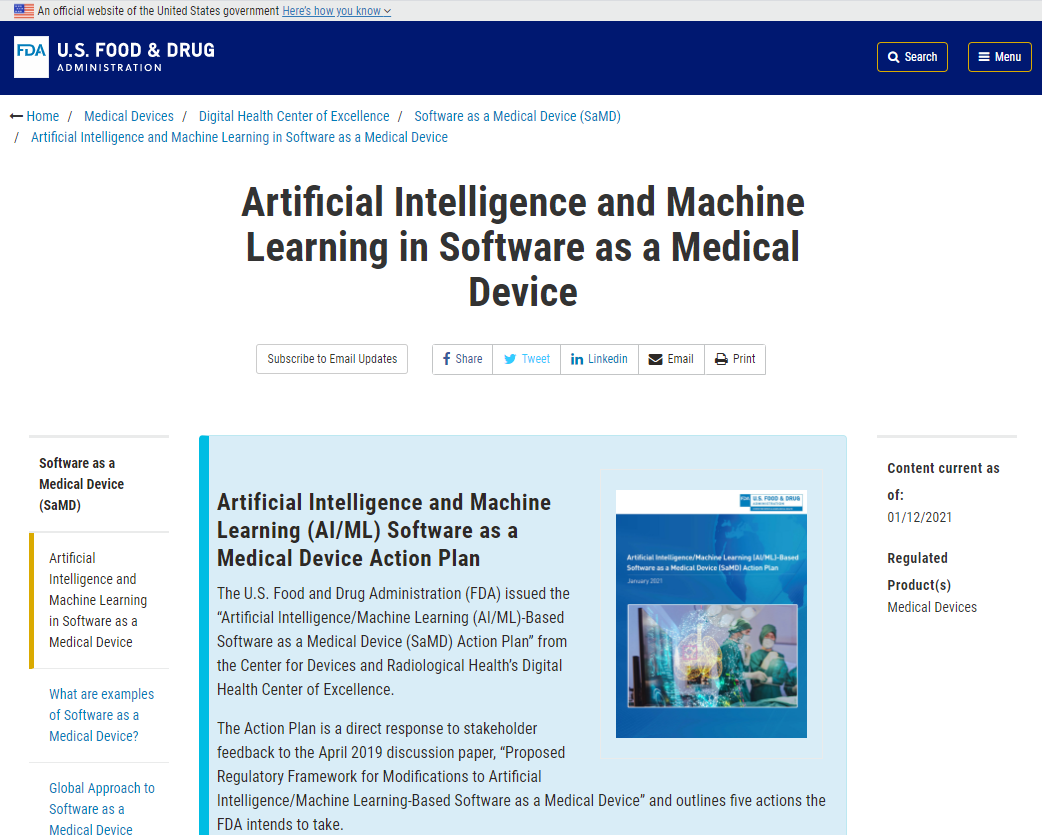 FDA Artificial Intelligence and Machine Learning in Software as a Medical Device