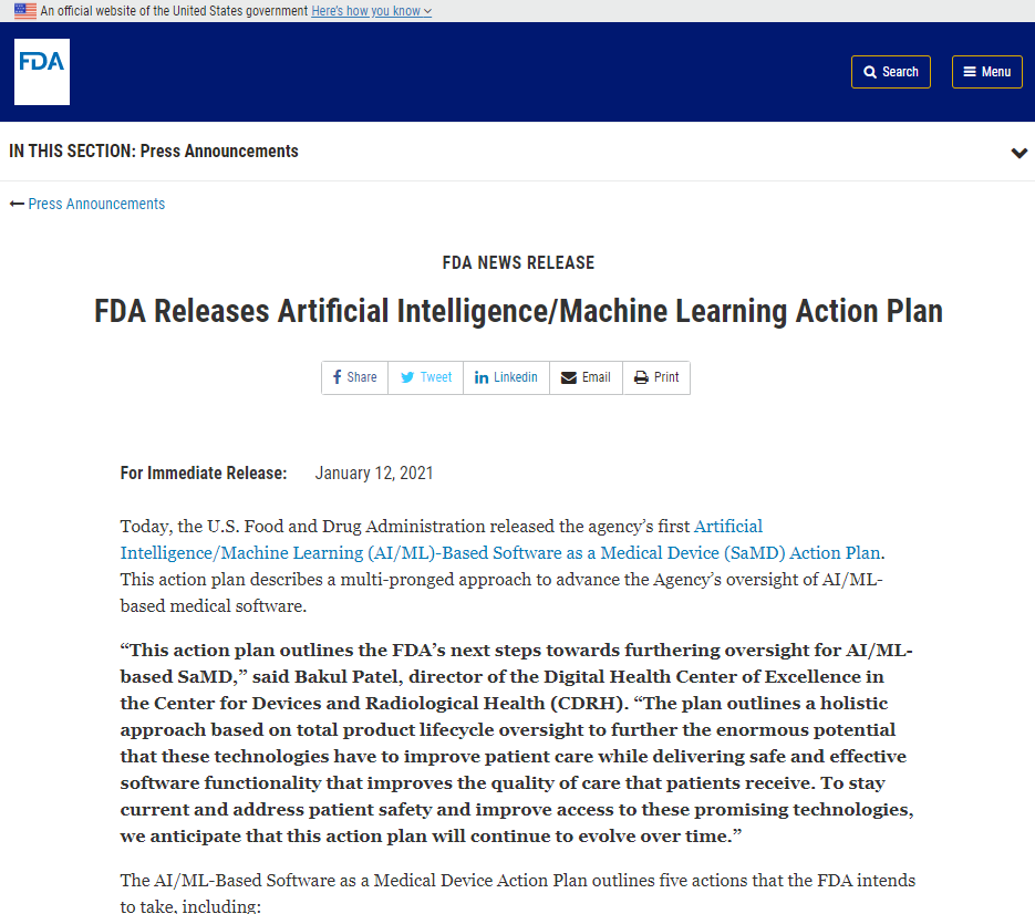 FDA Releases Artificial Intelligence Machine Learning Action Plan