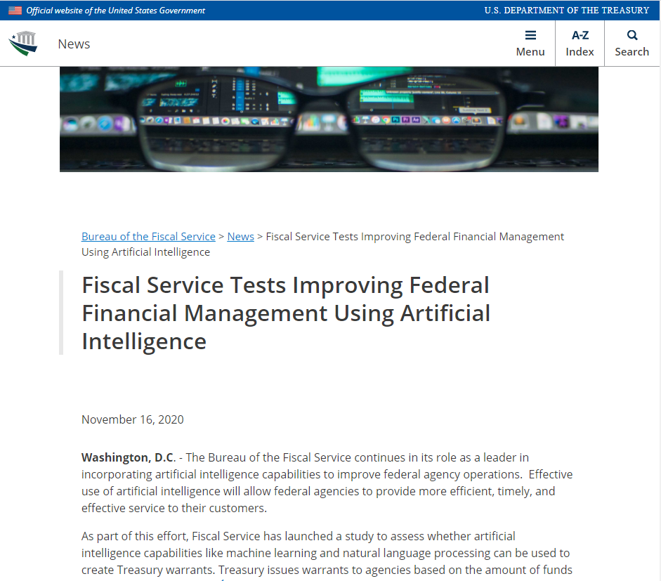 Fiscal Service Tests Improving Federal Financial Management Using Artificial Intelligence