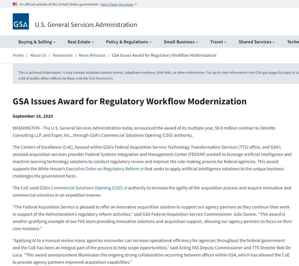 GSA Issues Award for Regulatory Workflow Modernization