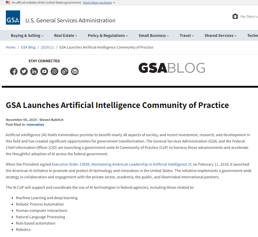 GSA Launches Artificial Intelligence Community of Practice