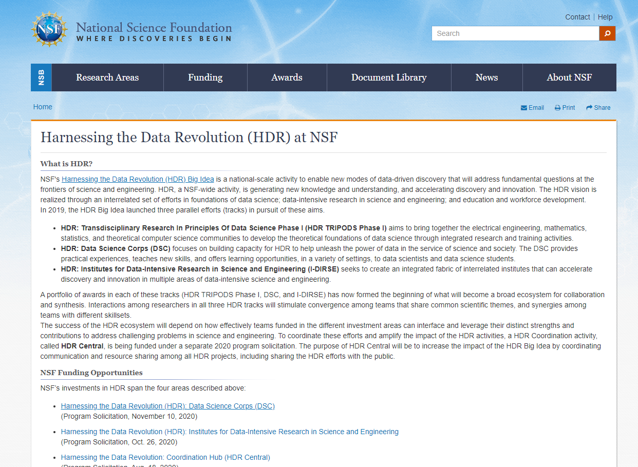 Harnessing the Data Revolution (HDR) at NSF