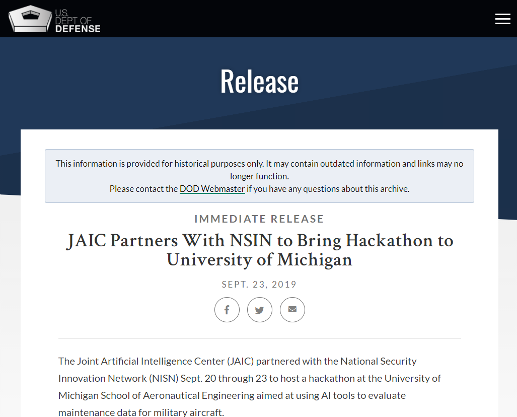 JAIC Partners With NSIN to Bring Hackathon to University of Michigan