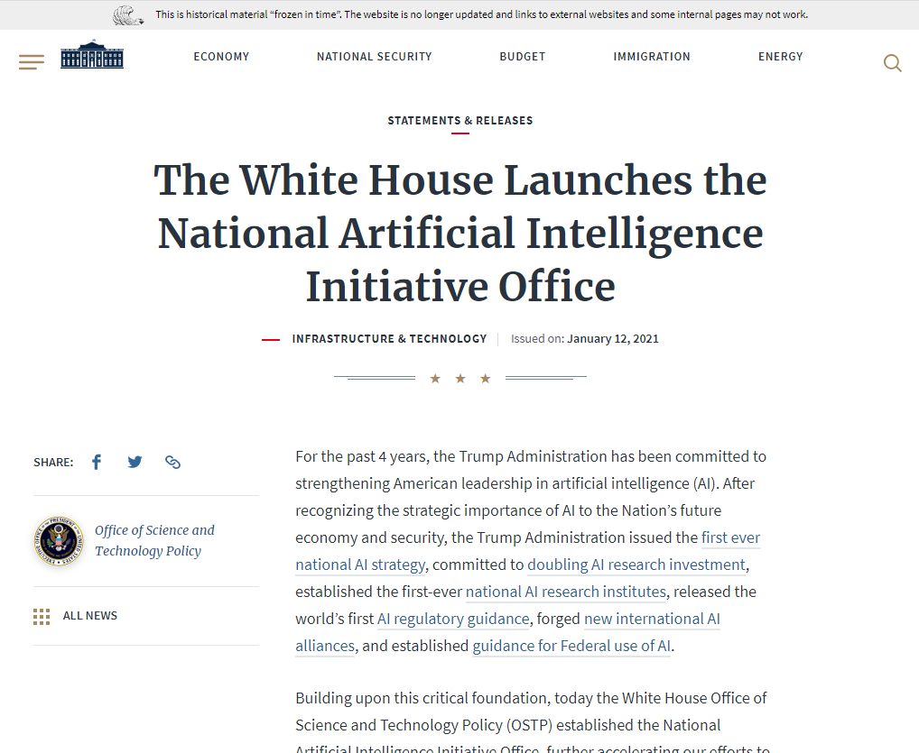 Launching of the National AI Initiative Office