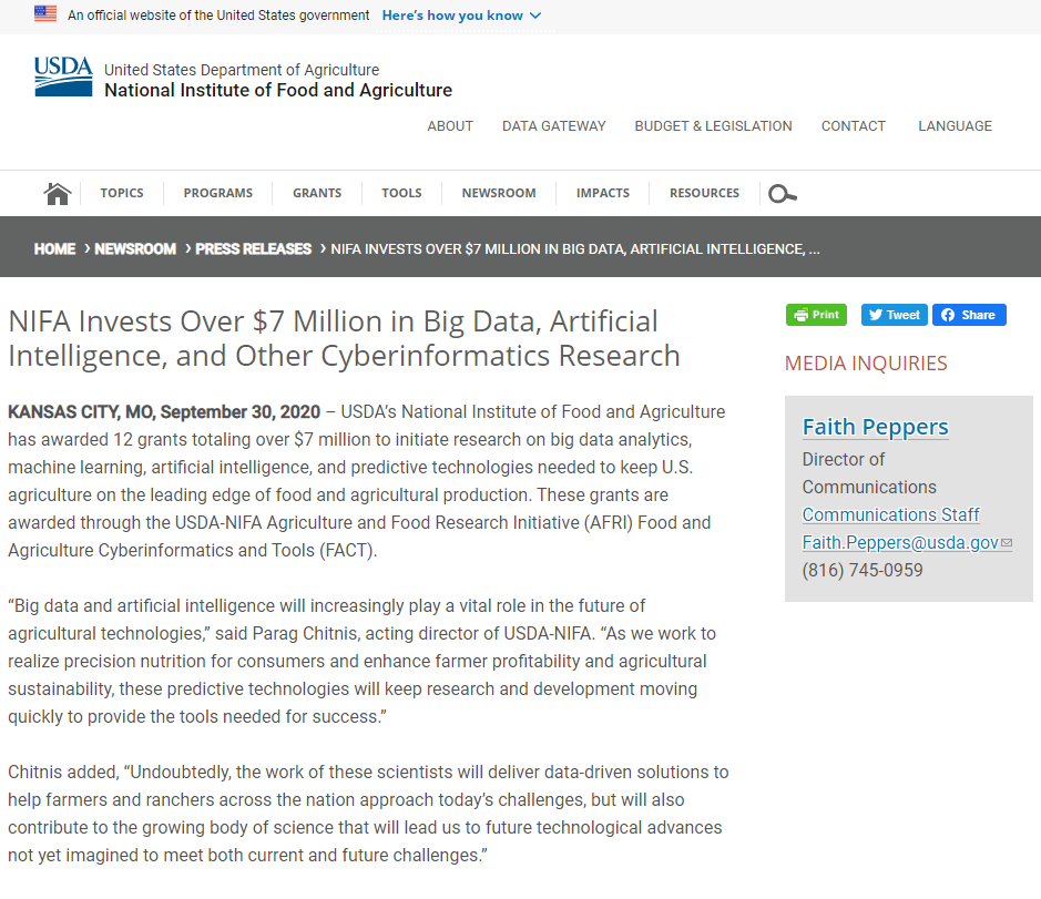 NIFA Invests Over $7 Million in Big Data, Artificial Intelligence, and Other Cyberinformatics Research