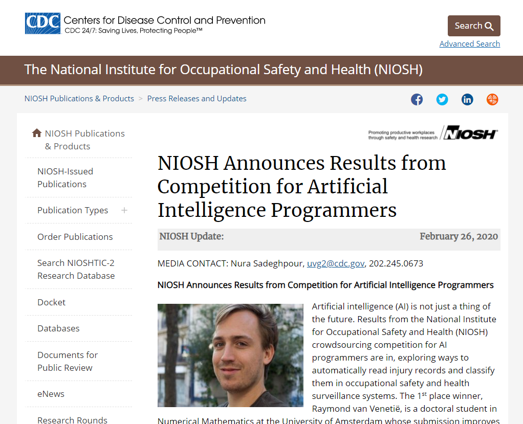 NIOSH Announces Results from Competition for Artificial Intelligence Programmers