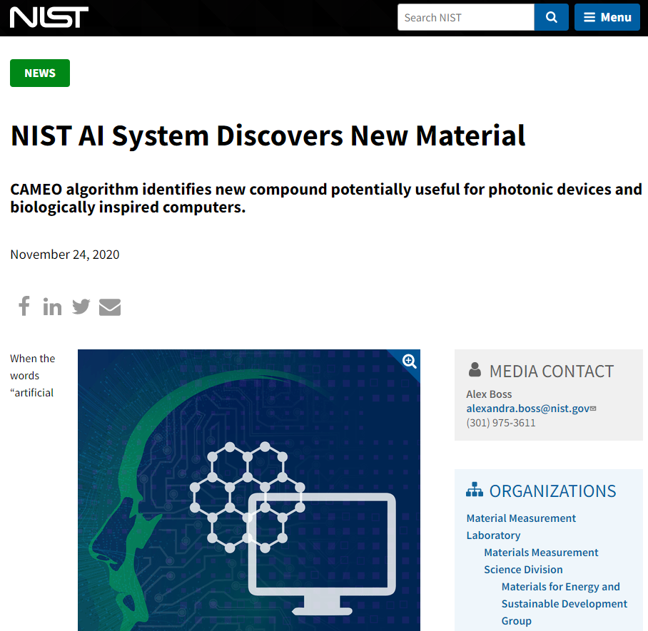 NIST AI System Discovers New Material