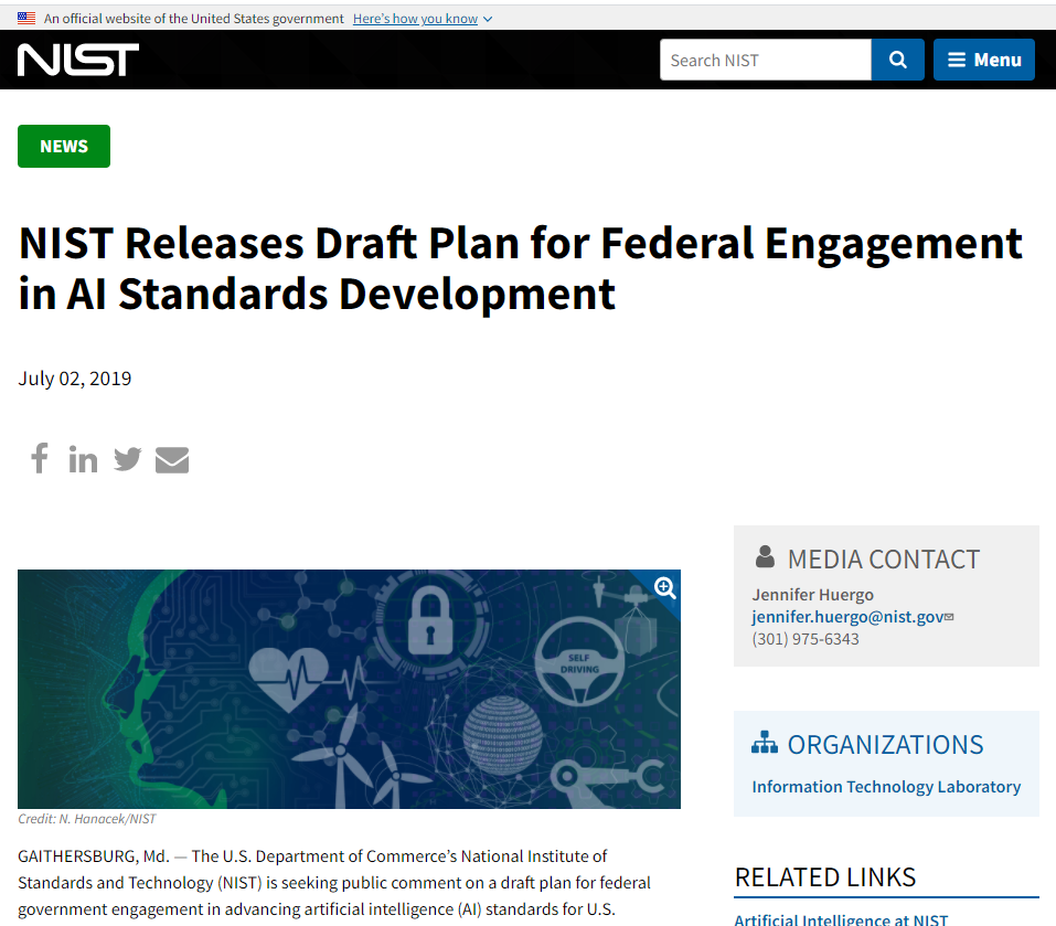 NIST Releases Draft Plan for Federal Engagement in AI Standards Development