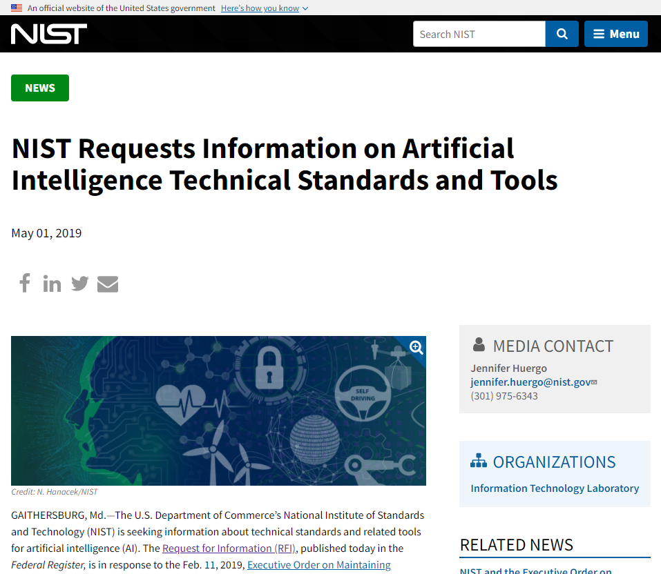 NIST Requests Information on Artificial Intelligence Technical Standards and Tools