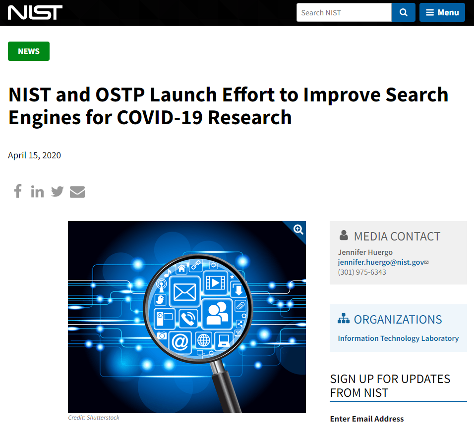 NIST and OSTP Launch Effort to Improve Search Engines for COVID-19 Research