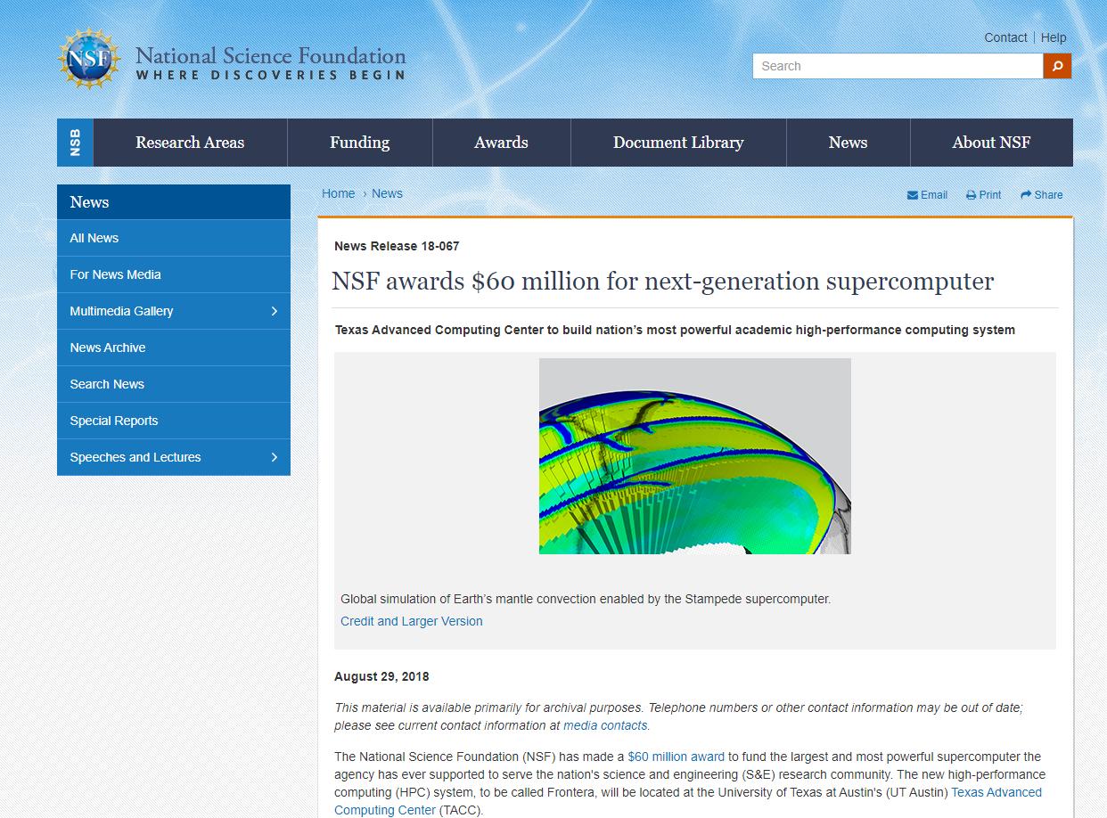 NSF awards $60 million for next-generation supercomputer