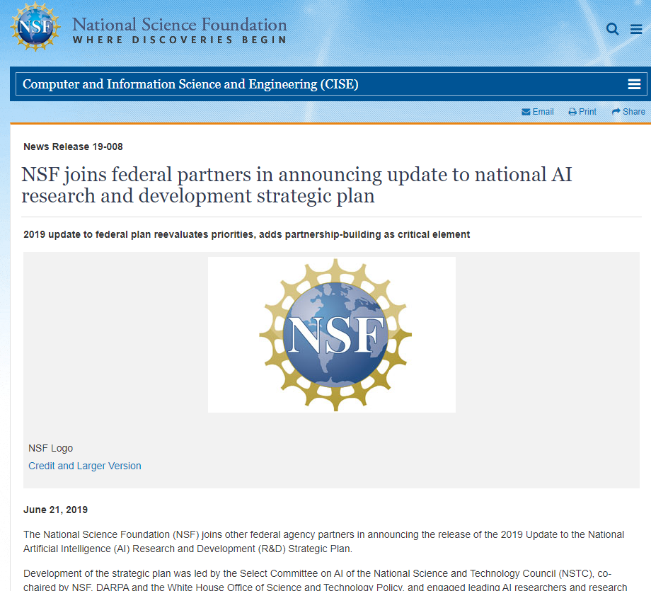 NSF joins federal partners in announcing update to national AI research and development strategic plan