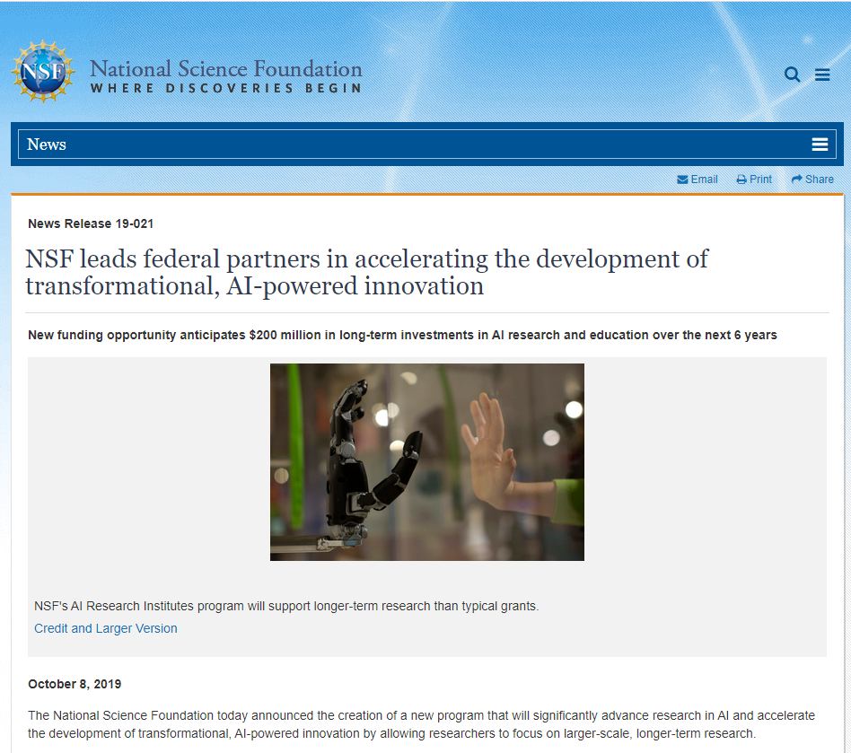 NSF leads federal partners in accelerating the development of transformational, AI-powered innovation