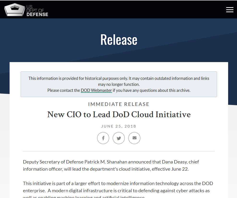 New CIO to Lead DoD Cloud Initiative