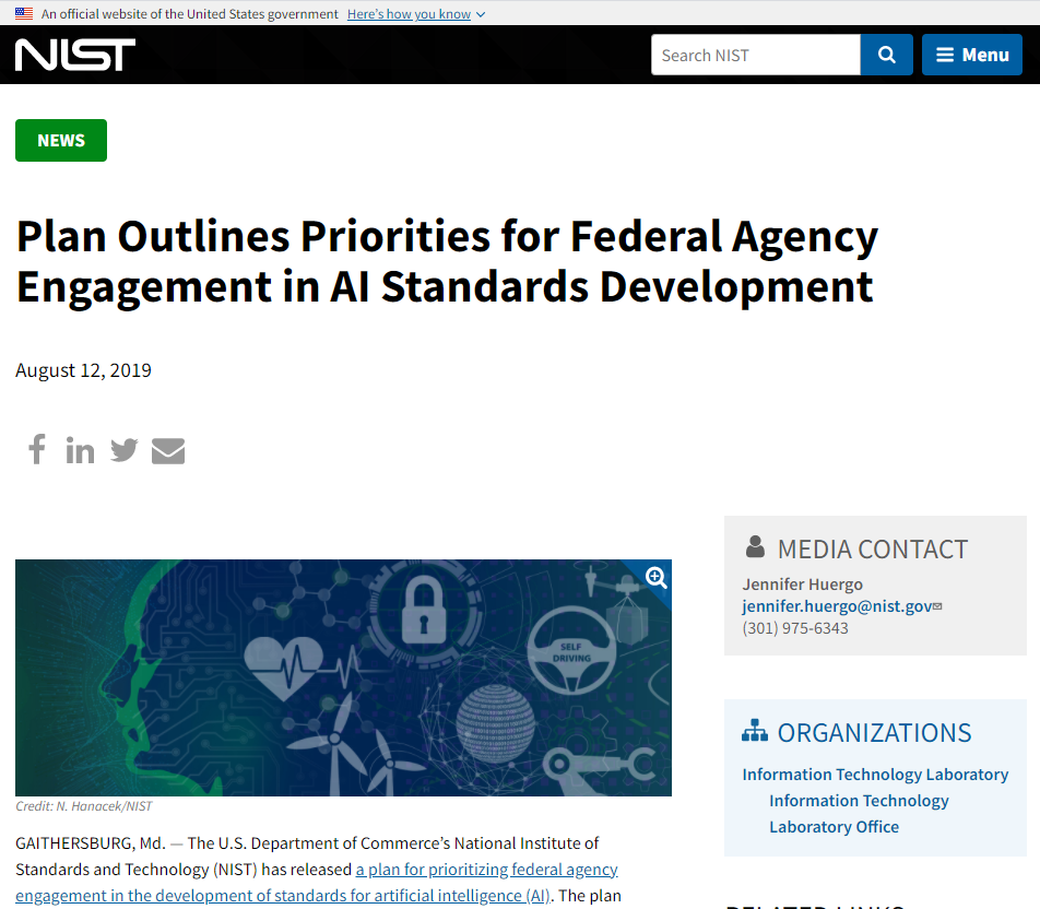 Plan Outlines Priorities for Federal Agency Engagement in AI Standards Development