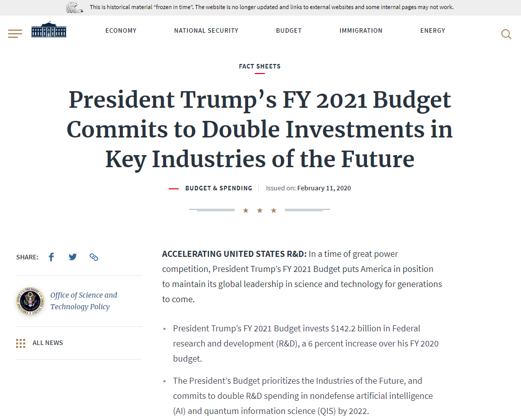 President Trump's FY 2021 Budget Commits to Double Investments in Key Industries of the Future