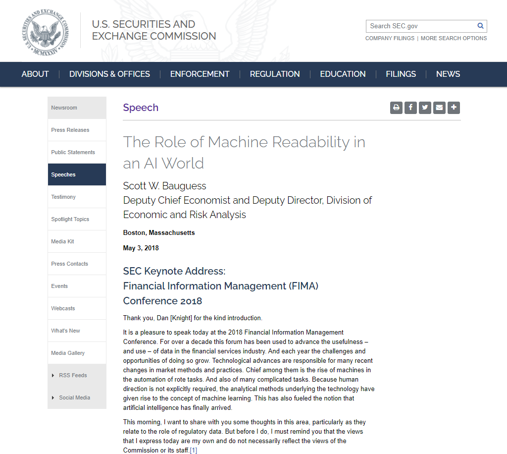 The Role of Machine Readability in an AI World