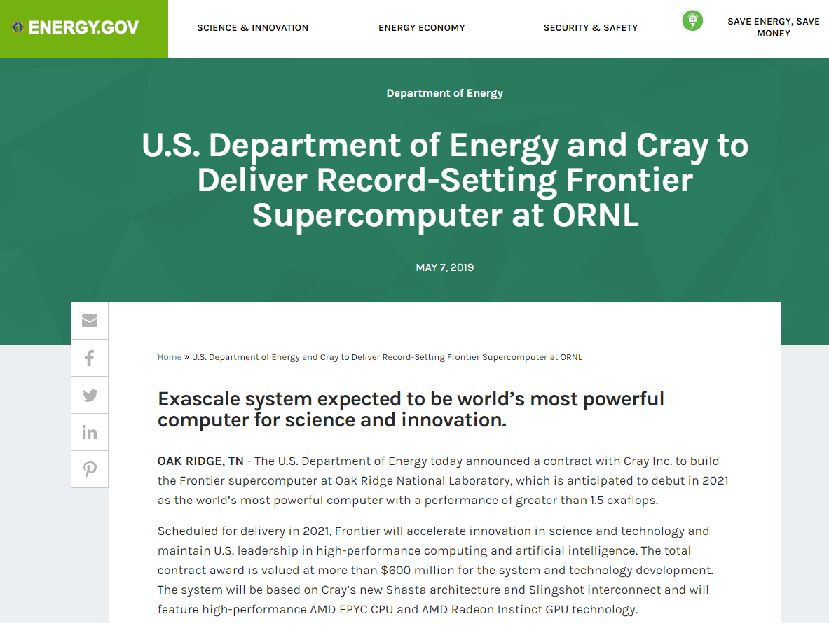 U.S. Department of Energy and Cray to Deliver Record-Setting Frontier Supercomputer at ORNL