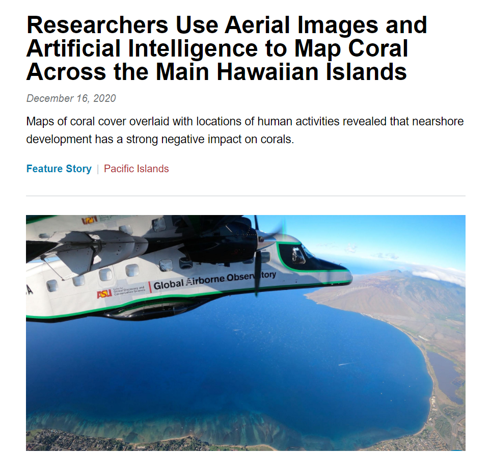 Researchers Use Aerial Images and Artificial Intelligence to Map Coral Across the Main Hawaiian Islands