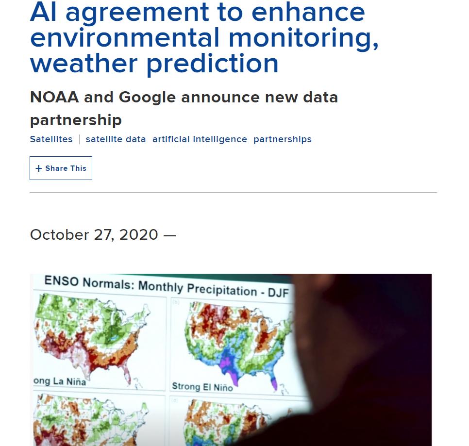 AI agreement to enhance environmental monitoring, weather prediction