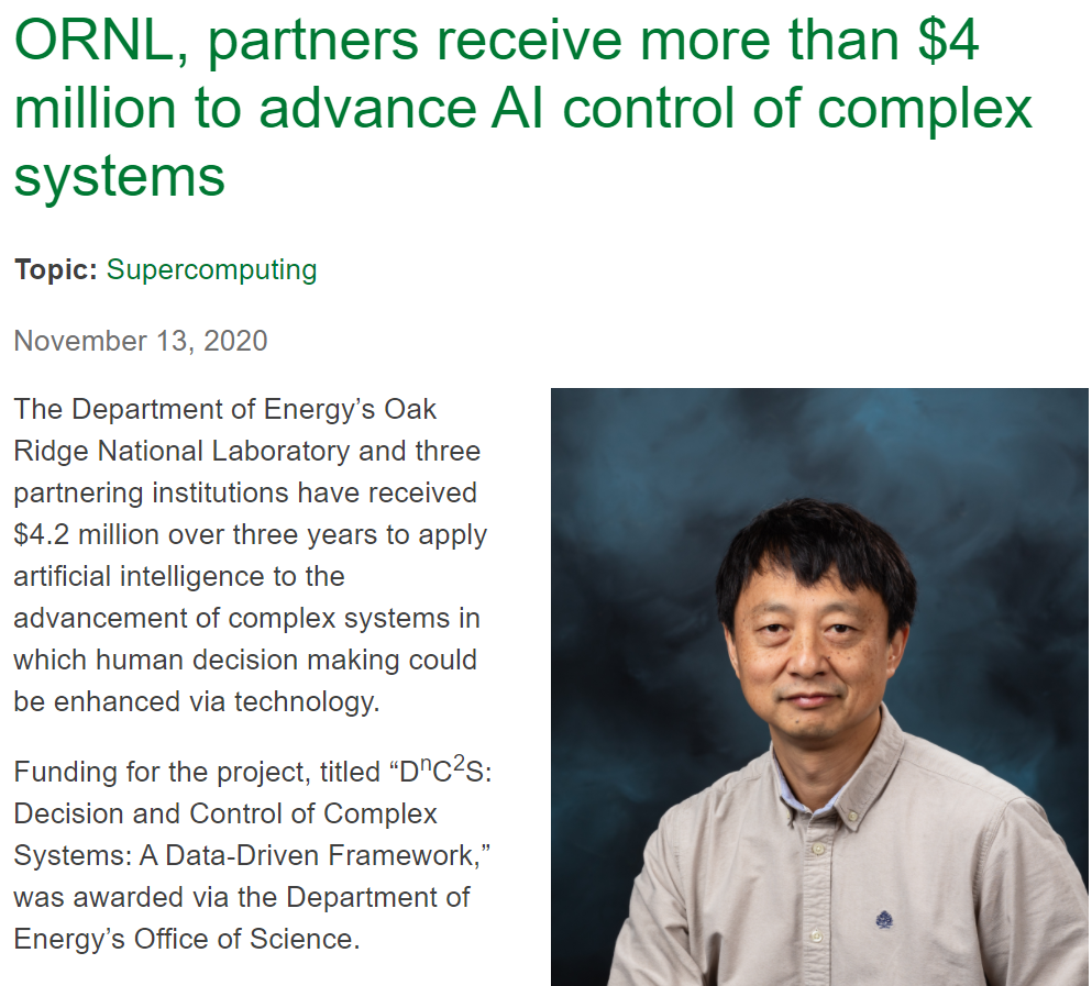 ORNL, partners receive more than $4 million to advance AI control of complex systems