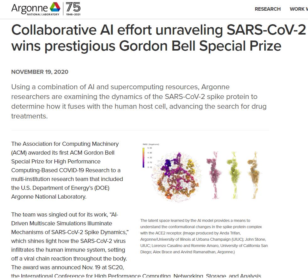 Collaborative AI effort unraveling SARS-CoV-2 mysteries wins prestigious Gordon Bell Special Prize