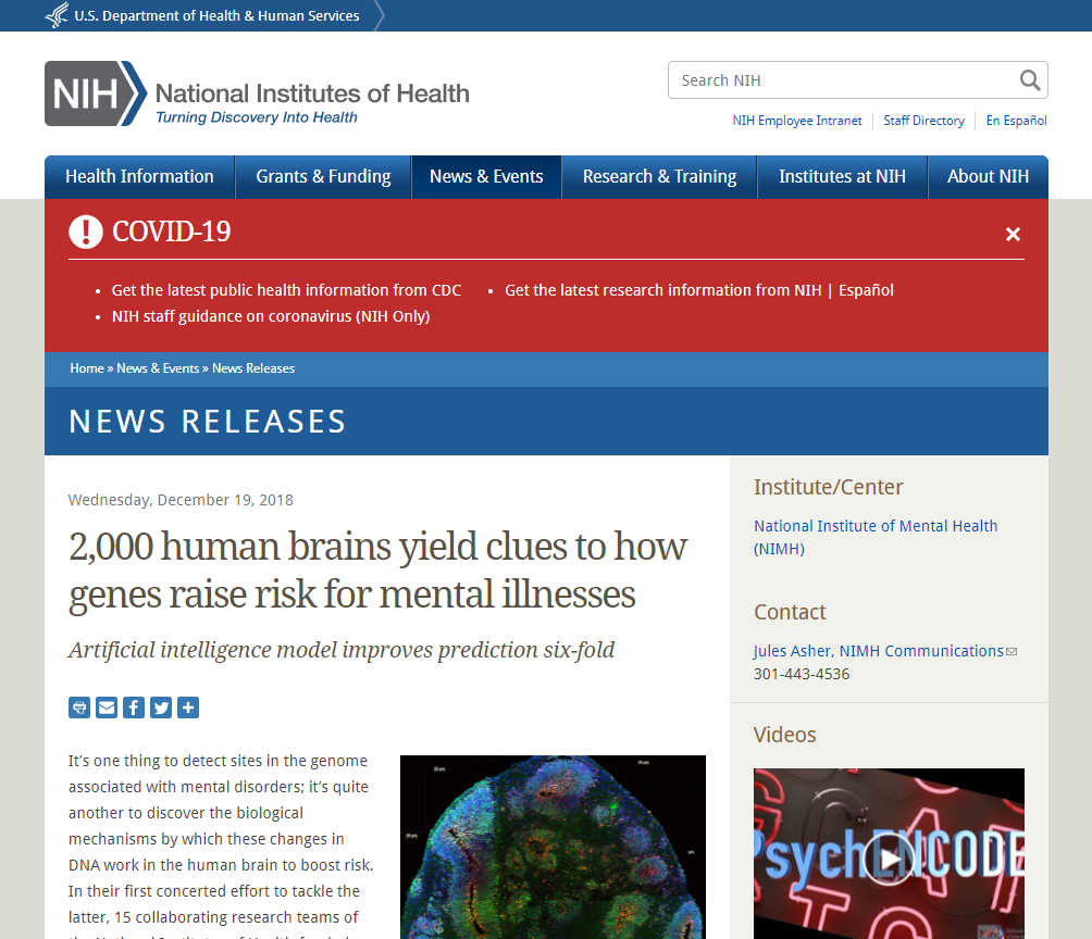 2,000 human brains yield clues to how genes raise risk for mental illness