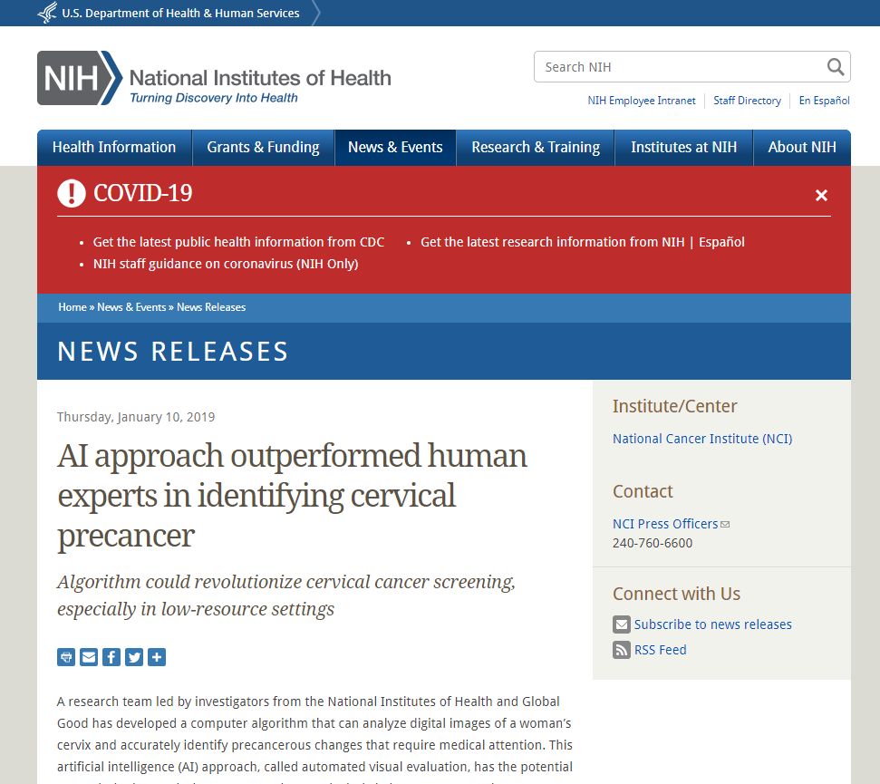 AI approach outperformed human experts in identifying cervical precancer