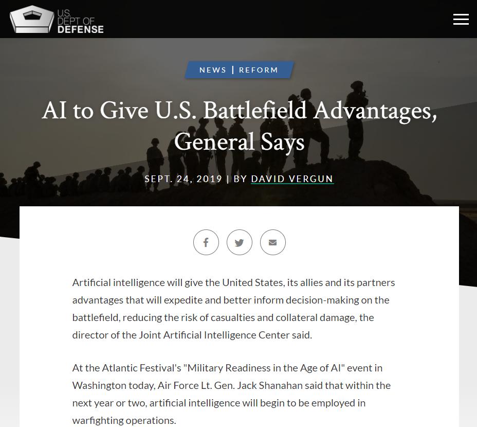 AI to Give U.S. Battlefield Advantages